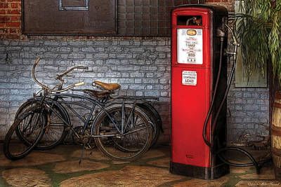 Bike - Two Bikes And A Gas Pump Poster by Mike Savad