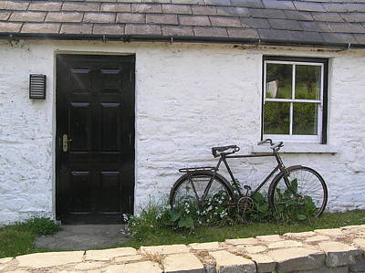 Bike And Irish Cottage Poster by Jeanette Oberholtzer