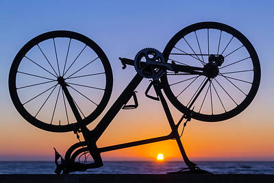 Bike On Sea Wall At Sunset Poster by Garry Gay