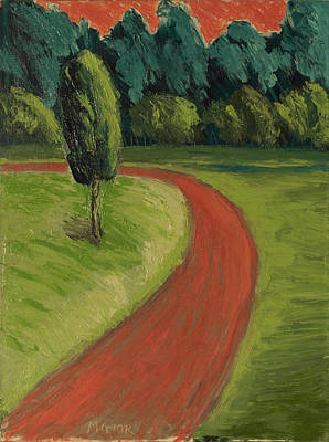 Poster featuring the painting Bike Path Through The Greenbelt by Clarence Major