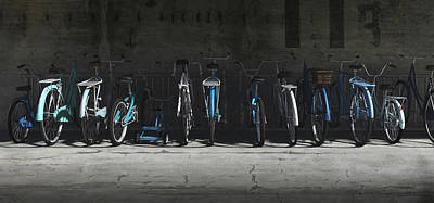 Bike Rack Blues Poster by Cynthia Decker