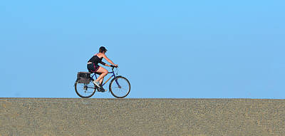 Bike Rider On Levee Poster