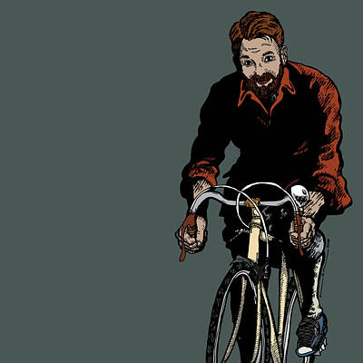 Bike Riding With Color Poster by Karl Addison