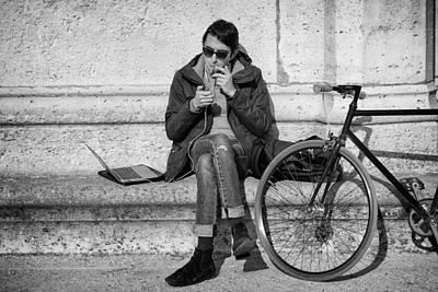 Biker In Paris Poster by Pablo Lopez