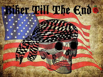 Biker Skull American Flag Old Paper Art Poster