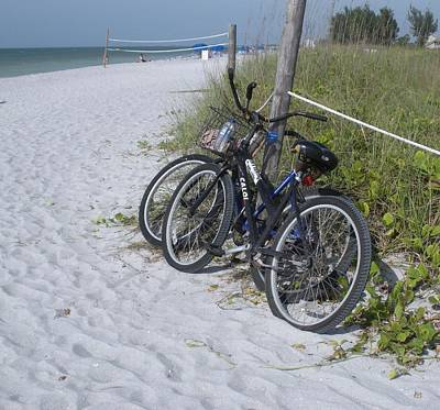 Bikes On The Beach Poster by Jeanette Oberholtzer