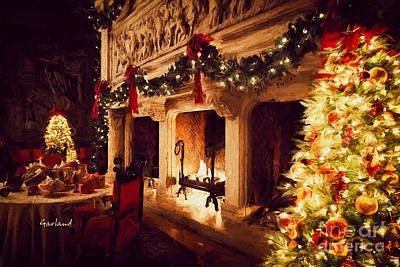 Biltmore House Triple Fireplace Poster by Garland Johnson