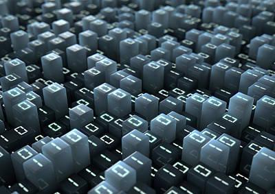 Binary Code Pixels Poster