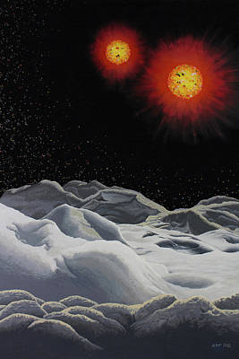 Binary Red Dwarf Stars 2 Poster by Kurt Kaf