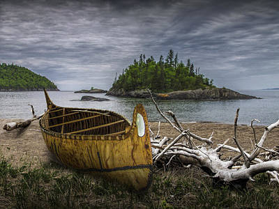 Birch Bark Canoe On Driftwood Beach By Wawa  Poster by Randall Nyhof