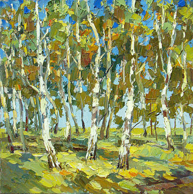 Poster featuring the painting Birch Forest by Dmitry Spiros
