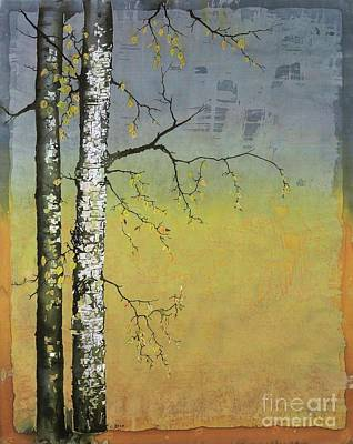 Birch In A Golden Field Poster