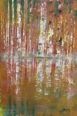 Poster featuring the painting Birch In Abstract by Gary Smith