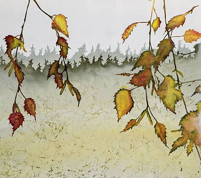 Birch In Autumn Poster by Carolyn Doe