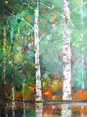 Poster featuring the painting Birch In Color by Gary Smith