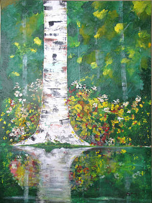 Poster featuring the  Birch In Flowers by Gary Smith