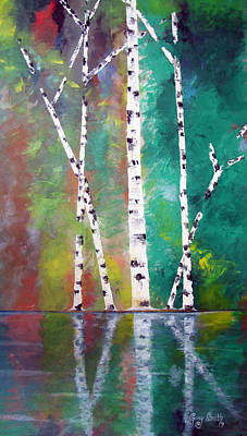 Poster featuring the painting Birch On Bank by Gary Smith