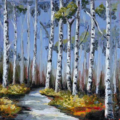 Birch Tree Path Poster