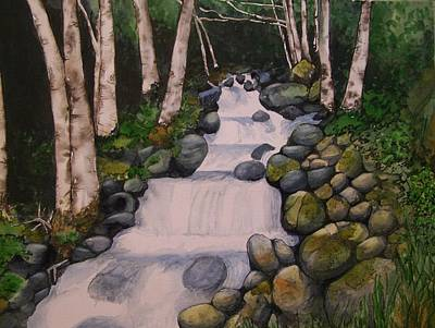 Poster featuring the painting Birch Trees By The Brook by Lynn Babineau
