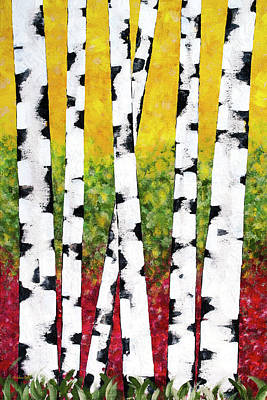Poster featuring the mixed media Birch Forest Trees by Christina Rollo