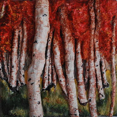 Birch Trees In Autumn Poster by Alison  Galvan