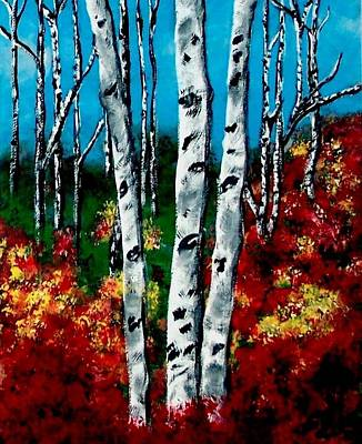 Poster featuring the painting Birch Woods 2 by Sonya Nancy Capling-Bacle