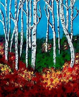 Poster featuring the painting Birch Woods by Sonya Nancy Capling-Bacle
