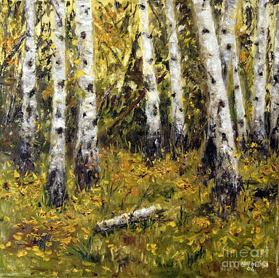 Poster featuring the painting Birches by Arturas Slapsys
