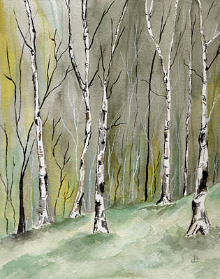 Birches Before Spring Poster by Brenda Owen
