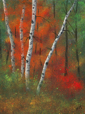 Birches II Poster