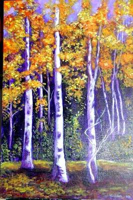 Birches In Canadian Fall Poster by Marie-Line Vasseur