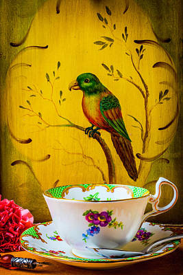 Bird And Tea Cup Poster by Garry Gay