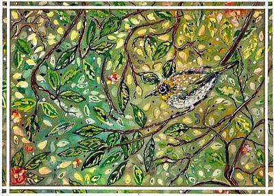 Bird Hiding Among The Green Poster by M E Wood