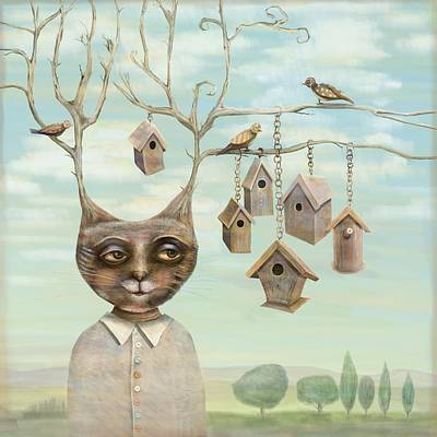 Bird Houses Poster by Catherine Swenson