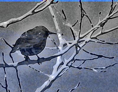 Bird In Digital Blue Poster