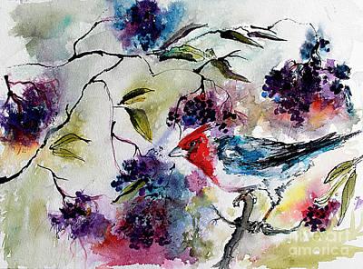 Bird In Elderberry Bush Watercolor Poster
