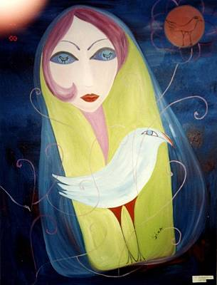 Poster featuring the painting Bird In The Moon by Sima Amid Wewetzer