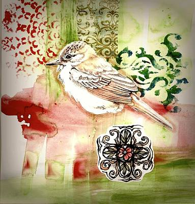 Poster featuring the mixed media Bird Love by Rose Legge