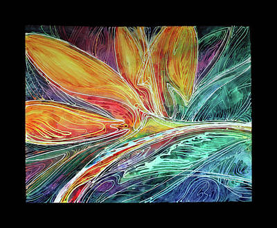 Bird Of Paradise Abstract Batik Poster by Marcia Baldwin