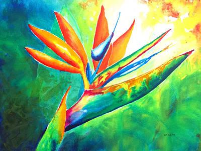 Bird Of Paradise Flower - Intense Watercolor Poster by Carlin Blahnik