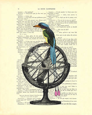 Colorful Bird Of Paradise Sitting On Globe Poster by Madame Memento