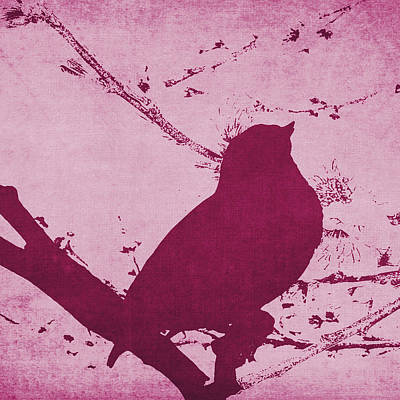 Bird On A Branch In Pink Square Poster by Emily Kay