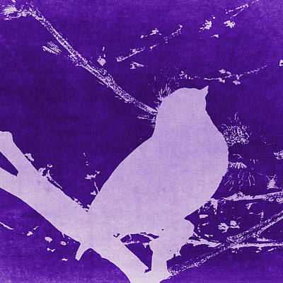 Bird On Branch Square Purple Poster by Emily Kay