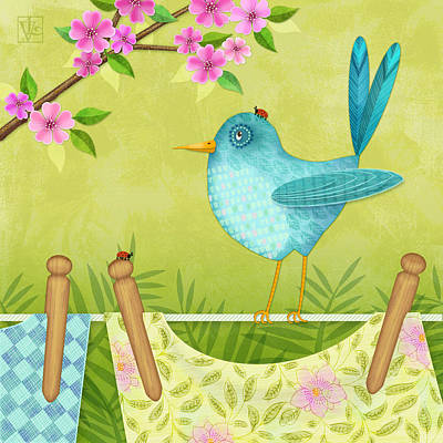 Bird On Clothesline Poster by Valerie Drake Lesiak