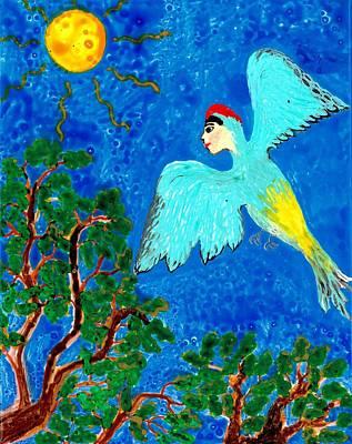 Bird People Green Woodpecker Poster by Sushila Burgess