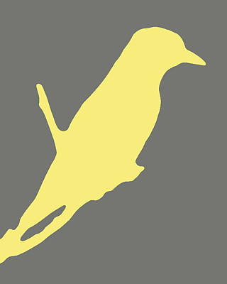 Bird Silhouette Gray Yellow Poster