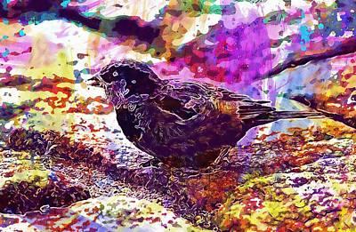 Poster featuring the digital art Bird The Sparrow Nature Pen  by PixBreak Art