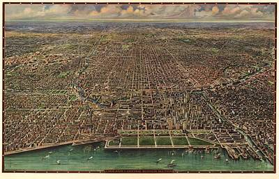 Birds Eye View Of Chicago 1916 Poster