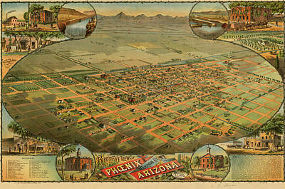Bird's Eye View Of Phoenix, Maricopa County, Arizona Poster