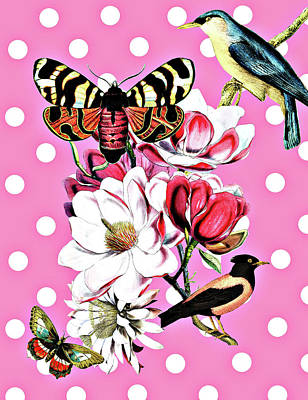 Birds, Flowers Butterflies And Polka Dots Poster